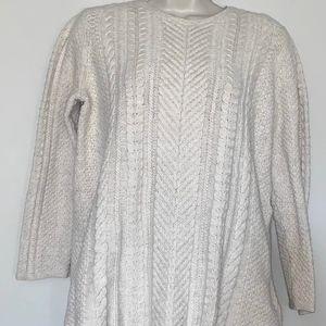 J Jill Sz M Ivory Cable Knit Sweater Cotton Blend